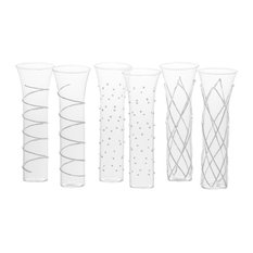 Razzle Dazzle Assorted Stemless Flutes, 6-Piece Set, Silver