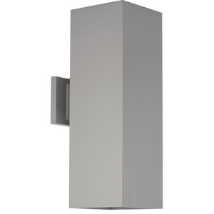 Led Square Cylinder 2 Light Outdoor Wall Light in Metallic Gray