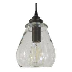 Clear Pendant Light With Edison Bulb, Oil Rubbed Bronze   Pendant Lighting