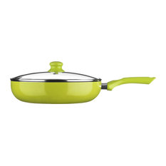 Premier Housewares - Ecocook Frying Pan With Lid, Lime, Extra Large - Frying Pans & Skillets