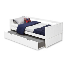 Camaflexi Twin Day Bed With Twin Trundle, Panel Headboard, White Finish