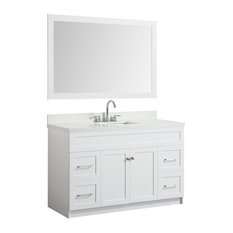 55-inch Bath Vanity White With Quartz Vanity Top White With White Basin/Mirror