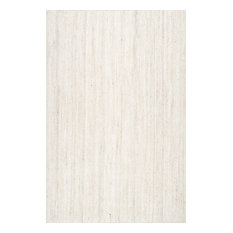 nuLOOM Hand Woven Jute and Sisal Rigo Area Rug, Off-White, 5'x8' Oval