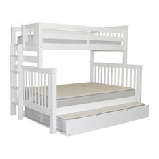 Bedz King Bunk Beds Twin Over Full With End Ladder and Full Trundle, White