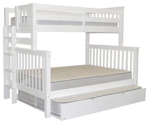 Bedz King Bunk Beds Twin Over Full With End Ladder And Trundle White More Info