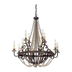 """Savoy House 1-7405-12 Mallory 12 Light 38"""" 2 Tier Chandelier, Fossil Stone"""