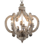 A&B Home - Crown 6-Light Chandelier - The Crown-Shaped 6-Bulb Chandelier adds a dose of farmhouse or rustic style to your hallway or dining room. Its crown-shaped frame has a distressed white finish. The elegant scrolls of its frame add an unexpected, stylish touch to your decor.