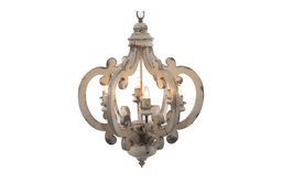 White Distressed 6 Light Chandelier