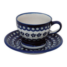 Flowering Peacock Pedestal Cup and Saucer