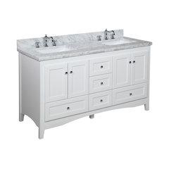 Abbey 60 Bath Vanity Base White Top Carrara Marble Double Narrow Depth Bathroom