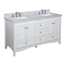 "Abbey 60"" Bath Vanity, Base: White, Top: Carrara Marble, Double Vanity"