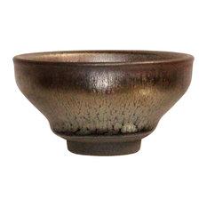 Chinese Handmade Jianye Clay Bronze Silver Black Glaze Decor Teacup