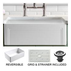 "Olde London Reversible Farmhouse Single Bowl Kitchen Sink, Grid, Strainer, 27"""