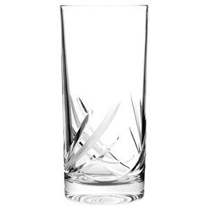 Decorative Reeds Lead Crystal Highball Glasses, Set of 6