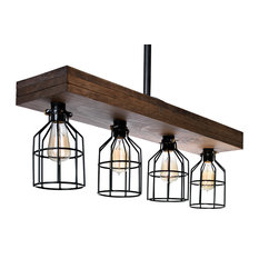 Modern Wooden Farmhouse Light Fixture with Cages, 4-Light