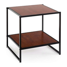FASTF - Modern Steel Frame End Table Nightstand, Brown - Nightstands and Bedside Tables