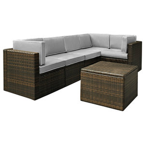 Palm Harbor 6 Piece Outdoor Wicker Seating Set With Gray Cushions