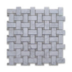 "12""x12"" Carrara White Basketweave Mosaic, Gray Dots Honed, Chip Size: 1""x2"""