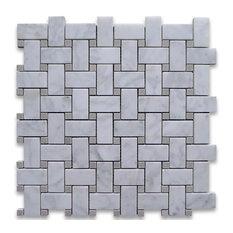 "12""x12"" Carrara White Basketweave Mosaic, Gray Dots Honed, Chip Size: 1""x2"""