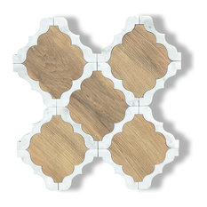 Light Wood and Carrara Marble Waterjet Cut Tile, Design 30