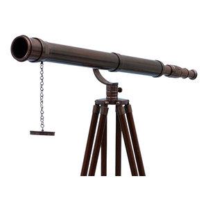 "Floor Standing Galileo Telescope, Antique Copper, 65"""