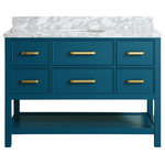 """MOD - Louella Blue Bathroom Vanity With Marble Top, 48"""" - The 48-inch Louella Blue Vanity is a versatile piece that will bring a pop of color to a modern bathroom. It has five drawers for storing cosmetic items, a fixed lower shelf and sleek brass-colored handles. The Carrara marble counter and backsplash add a touch of luxury while a round ceramic basin continues the minimalist aesthetic. The Italian stone surfaces naturally vary in color, markings and the pattern of their veins, meaning no two vanities are exactly alike. Playing with line and form, MOD creates sleek home furnishings that push the boundaries of contemporary design. Each individual piece is crafted from the finest materials for uncompromising quality and longevity."""