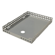Oldschool Steel A4 Letter Tray, Metallic Silver