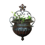 Antique Flower Metal Wall Planter