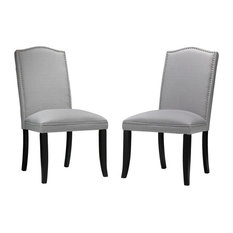 Cortesi Home Duomo Linen Crown Back Dining Chair Set Of 2 Stone Gray