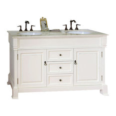 "60"" Double Sink Vanity, Solid Wood, Cream Finish, Cream White Marble Top"