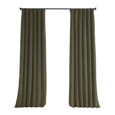 "Signature Blackout Velvet Curtain Single Panel, Hunter Green, 50""x84"""