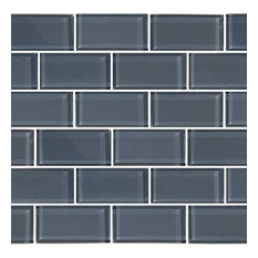 "12""x12"" Subway Series Glass Tile Mosaic, Blue Gray"