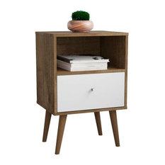 Mid Century Modern 1-Drawer Nightstand, Rustic Brown, White