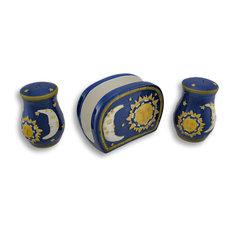 Cobalt Blue Celestial Table Set Napkin Holder, Salt/Pepper Shakers
