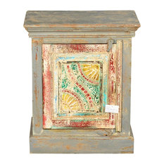 Sierra Living Concepts - Van Gogh Swirls Mango Wood Handcrafted Nightstand Cabinet - Nightstands and Bedside Tables