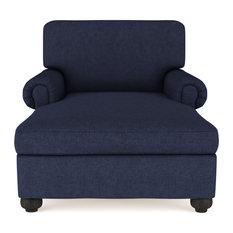Leroy Plush Velvet Chaise Blue Print
