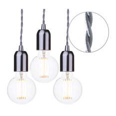 Grey Braided Cable Kit, Set of 3, Clear 6 Watt Led Filament Globe Bulb