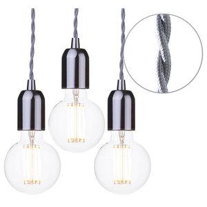 Grey Braided Cable Kit, Set of 3, Clear 6 Watt Led Filament Globe Bulb