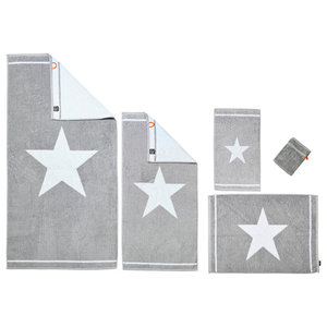 1 Star Towel Collection, Silver and White, Set of 5