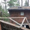 abandoned log cabin