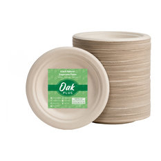 "Oak PLUS Sugarcane Plates, 600 Pack, Natural, 6"""