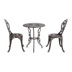 Outdoor Patio Furniture 3Pcs Cast Aluminum Bistro Set Table, Bronze