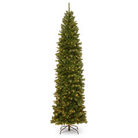 North Valley Spruce Pencil Slim Tree With Clear Lights, 9'