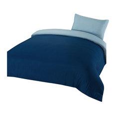 Plain Dyed Duvet Cover Quilt Bedding Set With Pillowcase, Navy Blue, Single