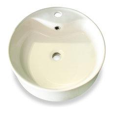 White Round Ceramic Vessel Sink with Overflow Valve
