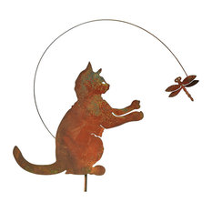 ART U0026 ARTIFACT   Art/Artifact Iron Cat With Dragonfly Garden Stake, Feline  Lawn
