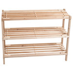 Lavish Home - 3-Tier Wood Storage Shoe Rack by Lavish Home - Keep your shoes organized and off the floor with the 3 Tier Blonde Wood Shoe Rack from Lavish Home.