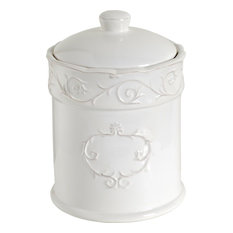 Au0026B Home   Ceramic Canister Jar With Rubber Seal, White   Kitchen Canisters  And Jars