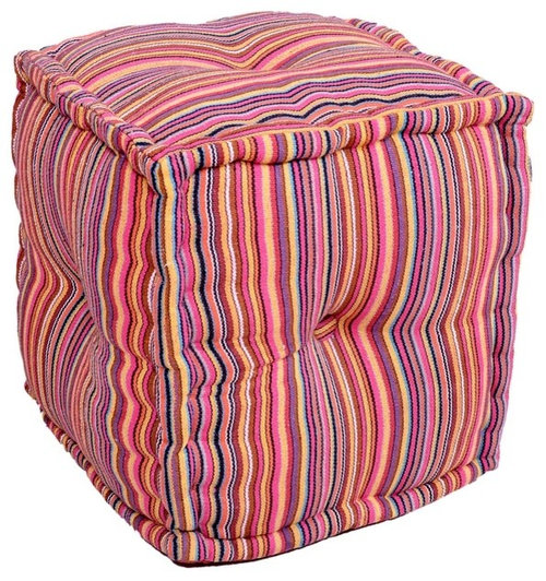 Cube Pouf Ottoman in Cotton - Floor Pillows And Poufs