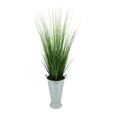 House of Silk Flowers Artificial 50-inch Grass in Galvanized Southern Farm Bucke